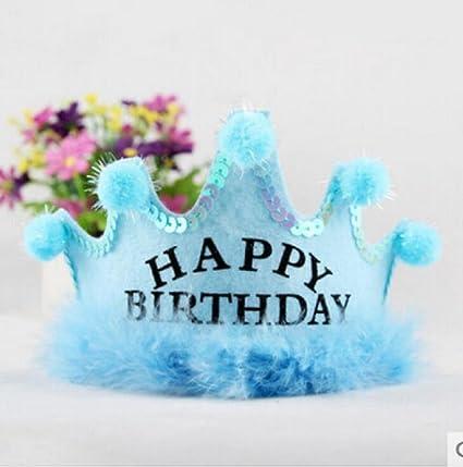 Amazon Com Red Cherry Blue Happy Birthday Queen Crown Birthday Hats