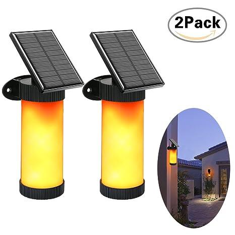 Lámparas Solares 102 LED IPX5 Impermeable Lámpara de Pared, 3 Modos Parpadeo Luces de Llama