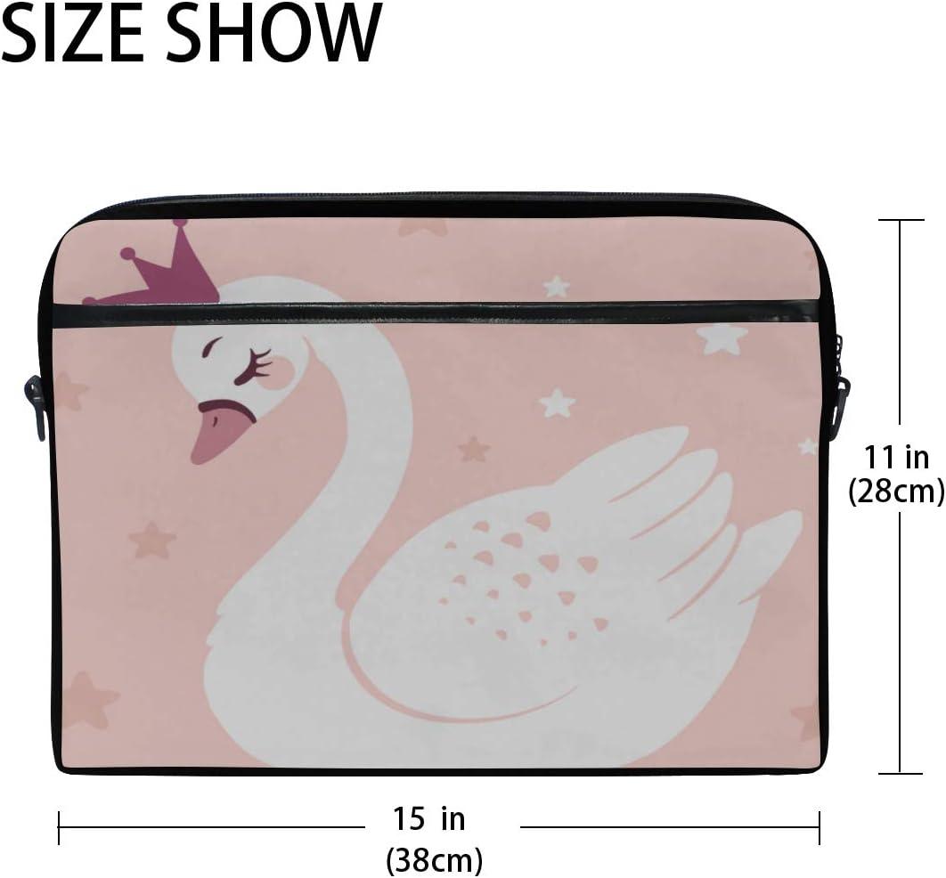 Laptop Bag Cute Princess Swan On Pink 15-15.4 Inch Laptop Case Briefcase Messenger Shoulder Bag for Men Women College Students Business People Offi