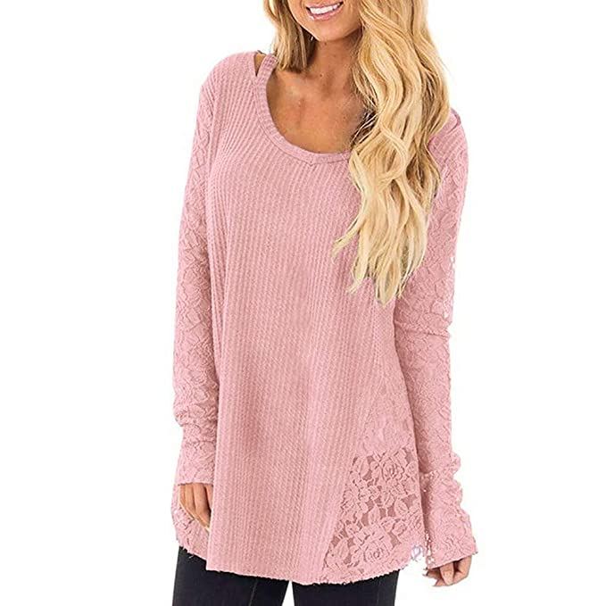 fdf9605827b WINWINTOM Women Lace Knitted Sweater,Plus Size Long Sleeve Patchwork ...