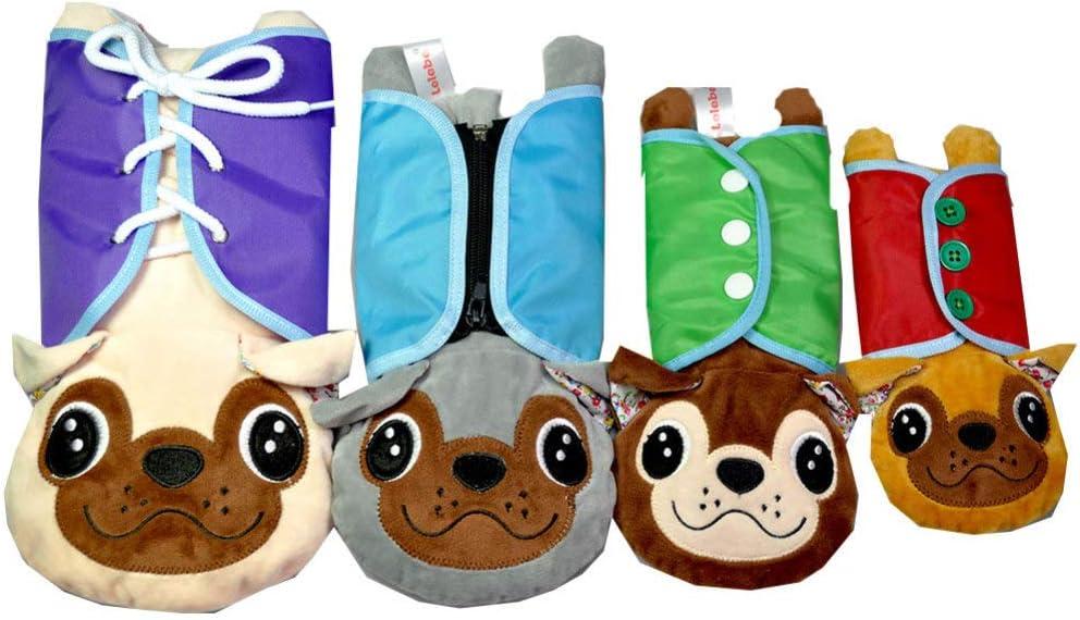 TOYANDONA 4 Piezas Libros de Tela para Bebés Aprendizaje Temprano Habilidades Básicas para La Vida Juguete Tela Lavable Libros Suaves Perro de Peluche Animal Juguete para Bebés
