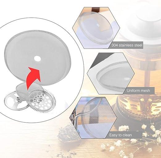Filtro de repuesto para cafetera de acero inoxidable reutilizable malla de repuesto para 8 tazas//34 oz//1000 ml prensa francesa SNAGAROG 6 unidades