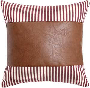 Kiuree Striped Farmhouse Pillow Covers Faux Leather Accent Pillow Case 18 x 18 Neutral Decorative Boho Throw Pillows for Couch Sofa Bed Living Room Modern Decor(Red)