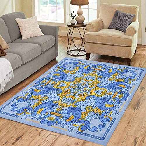 - Semtomn Area Rug 2' X 3' Andalusia Azulejos Portuguese Watercolor Blue Pattern Porcelain Aquarelle Arabesque Home Decor Collection Floor Rugs Carpet for Living Room Bedroom Dining Room
