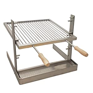SpitJack Portable Camping and Fireplace Grill with All Stainless Steel Cooking Grate and Drip Pan