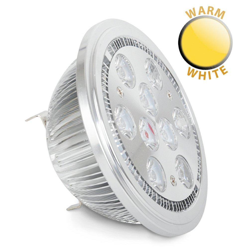 §§ Lot de 3 Ampoules Spéciales à LED AR111 G53, 12 VOLT DC, 9 watt (9 x 1 watt) SMD 3000K Blanc Chaud, 38° 640 lumens
