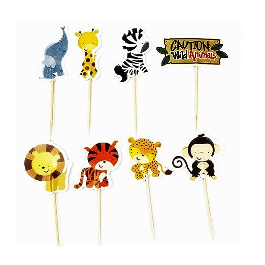 Luwu-Store Palillos con Animales Salvajes para Fiestas de cumpleaños y decoración de Pasteles, 24 Unidades