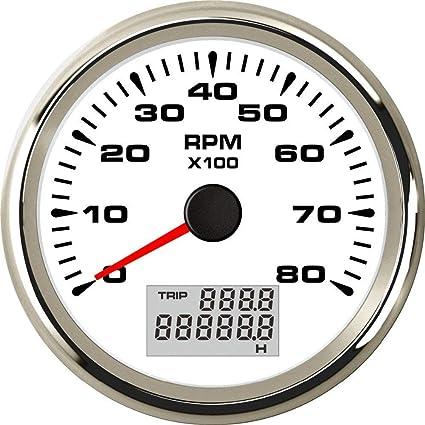 Wasserdicht Tachometer 0 8000 Rpm Tacho Gauge Für Auto Motorrad Boot Yacht Mit 8 Farben Hintergrundbeleuchtung 85mm Gewerbe Industrie Wissenschaft
