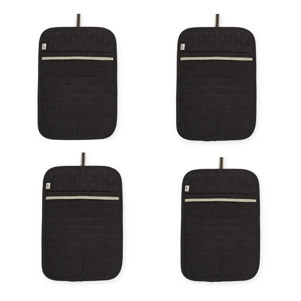 ED Ellen DeGeneres Quilted Pot Holder | 100% cotton (BLACK) 4-Pack