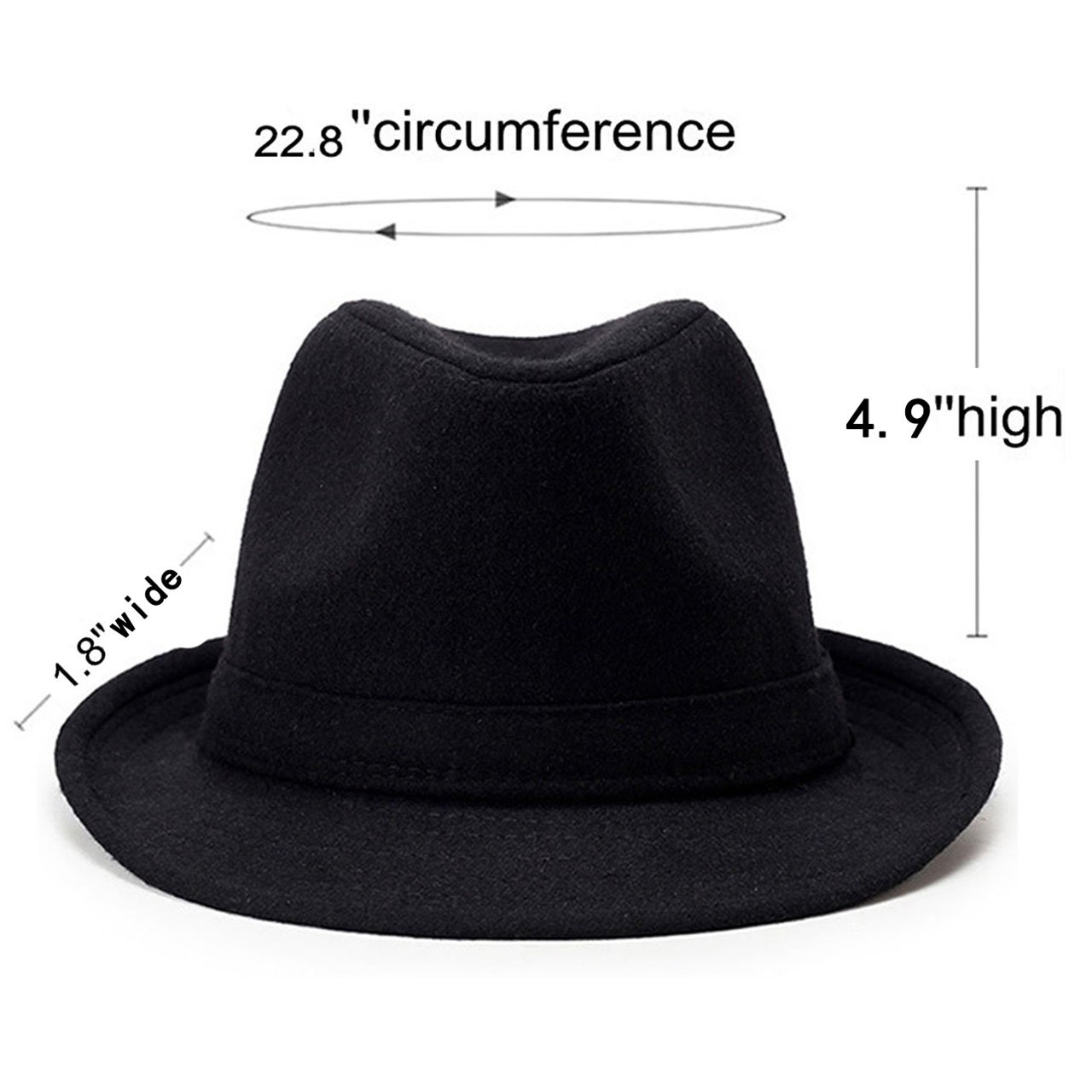 Unisex Classic Manhattan Fedora Hat Black Band Fashion Casual Jazz Wool Cap (Grey) by Faleto (Image #6)