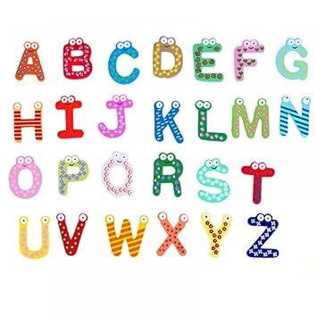 NUOMI 26 Letras A-Z en Varios Colores Imán de Madera Decoraciones ...
