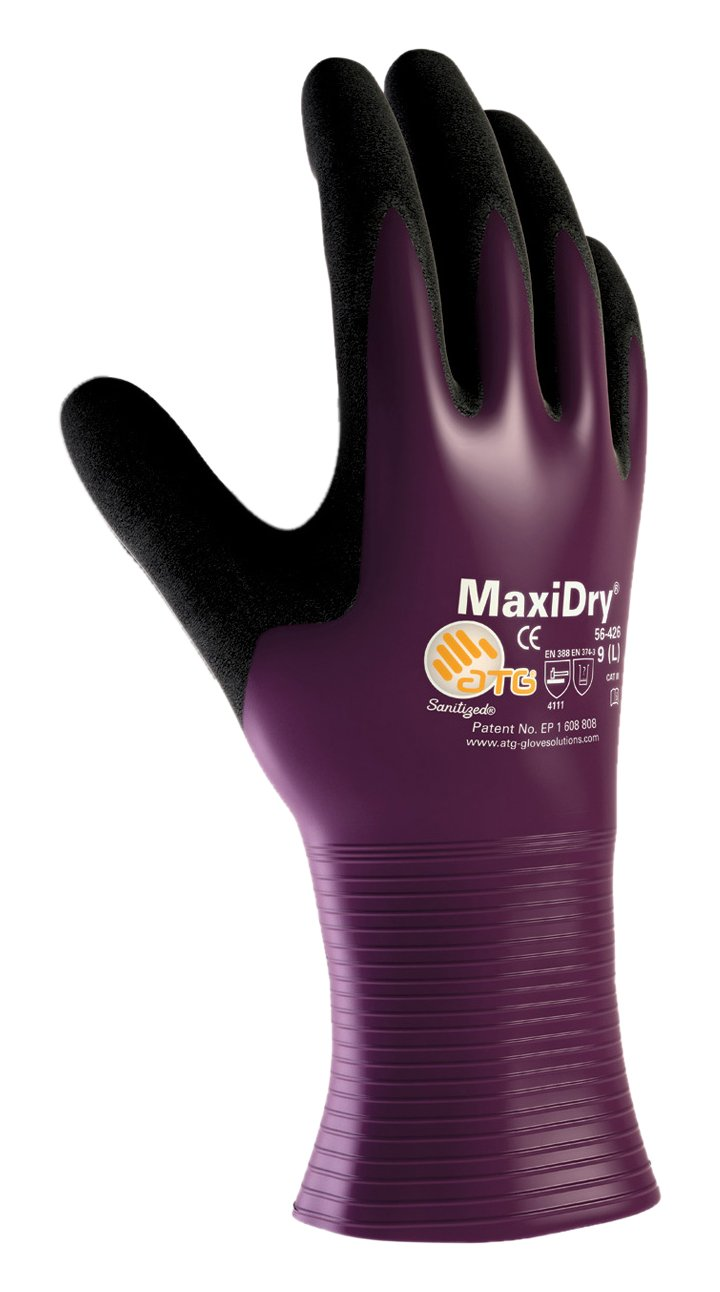 MaxiDry 56-426/XL Ultra Lightweight Nitrile Glove, Fully Dipped with Seamless Knit Nylon/Lycra Liner and Non-Slip Grip on Palm and Fingers