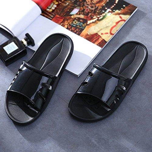 Y-Hui zapatillas de baño, Damas de verano, cubierta de plástico antideslizante, fondo blando, hogar, Grueso inferior, de baño, Zapatillas, Lady verano fresco black