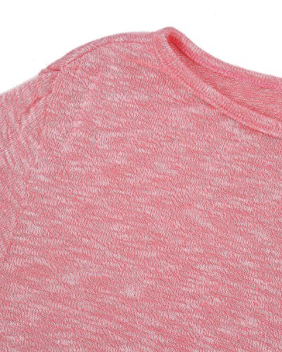 Minetom Mujer Moda Casual Blusa Manga Larga Camisa Camiseta Con Cuello Redondo Tops Color Sólido Rosa