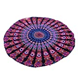 Auwer Round Bohemian Chiffon Beach Throw Cover-Up Tapestry Wall Art Hanging Pool Home Shower Towel Blanket Mandala Table Cloth Tablecover Roundie Yoga Mat Picnic Mat Bedspread Collage Dorm (Purple)