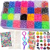 Talented Kidz 11750+ Authentic Rainbow Mega Refill Loom Over 10000 Premium Quality Rubber Bands, 30 Charms, 3 Backpack Hooks, ABC Stickers to Personalize Your Case, 500 Clips, 200 Beads, Organizer