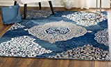 MADISON COLLECTION C9-GEOQ-G4S9 406 Modern Abstract Blue Medallions Area Rug Clearance Soft and Durable Pile. Size Option (5′ x 7′), 5′ x 7′ For Sale