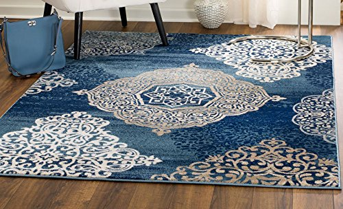 MADISON COLLECTION C9-GEOQ-G4S9 406 Modern Abstract Blue Medallions Area Rug Clearance Soft and Durable Pile. Size Option (5' x 7'), 5' x 7'