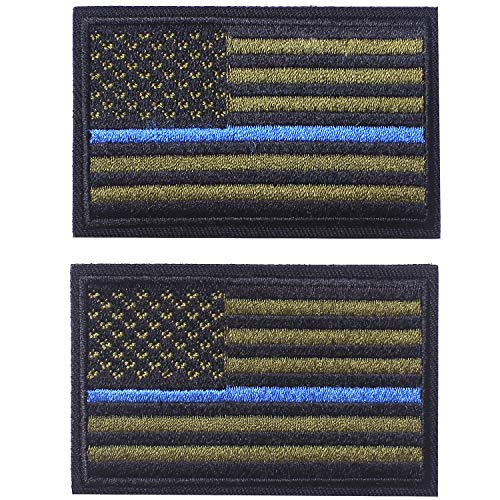 2 Pieces Tactical USA Flag Patch - Green & Blue - American Flag US United States of America Military Uniform Emblem Patches