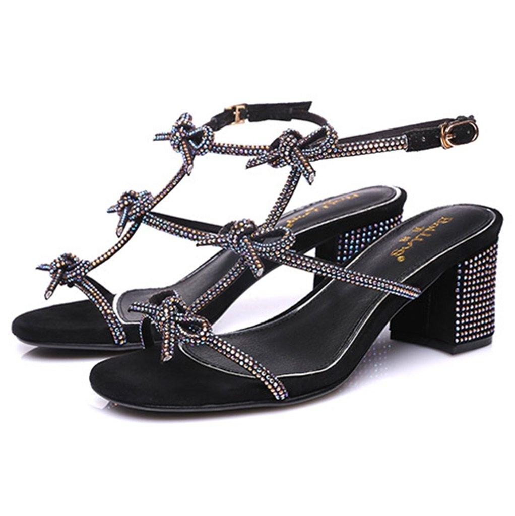 Ren Chang Jia Shi Pin Firm Sandalen Mädchen Schuhe Sandalen schwarz, Sommer Sandalen Strass Fashion Heels (Farbe : schwarz, Sandalen Größe : 35) schwarz 3d792a