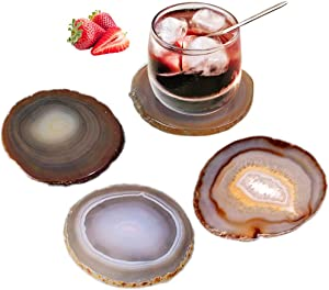 """AMOYSTONE Coasters for Drink Agate Coasters Set of 4 Stone Coasters with Rubber Bumpers Nature Brown 3.5-4"""""""