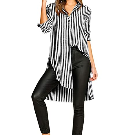 TINGSU - Blusa de manga larga para mujer, con botones a ...