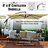 BenefitUSA Cantilever Banana Umbrella 8'x8' Patio Offset Parasol Garden Outdoor Sunshade Hanging Market---360'C Rotational Function (BEIGE)