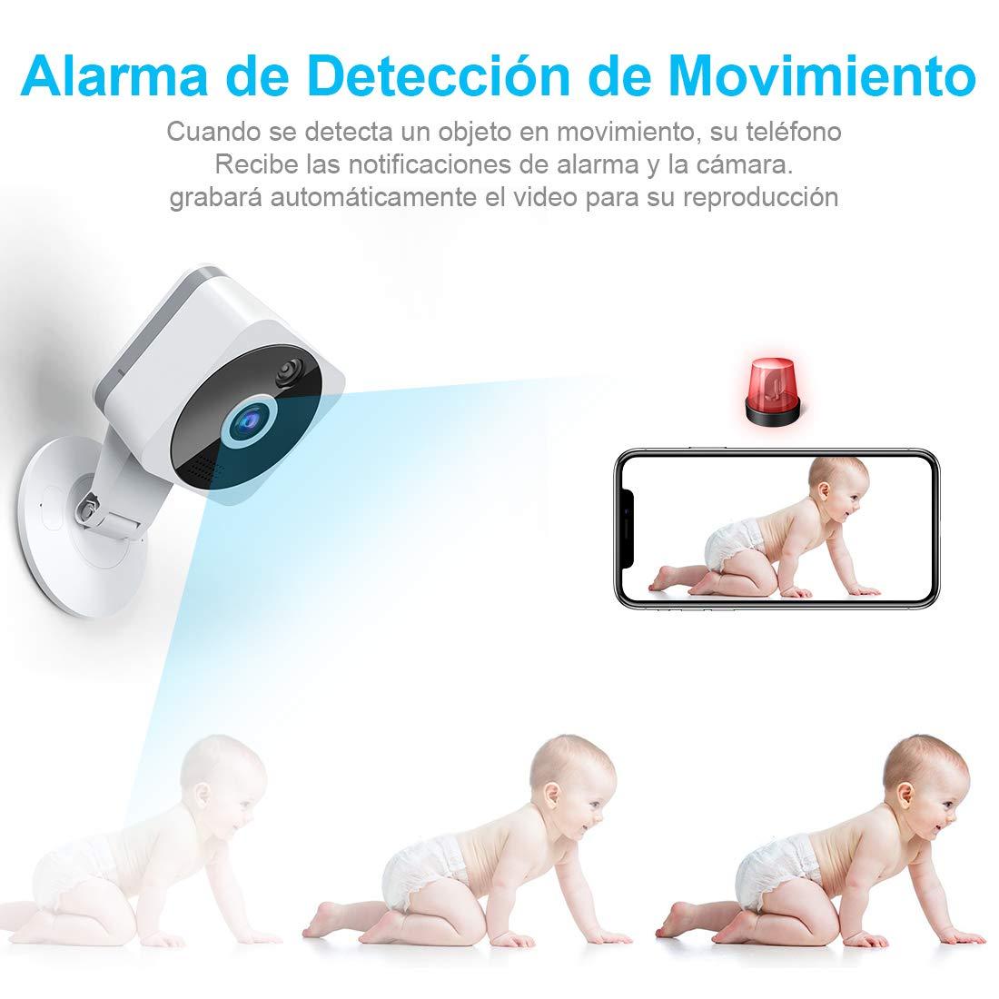 Camara Seguridad WiFi Interior para Bebe//Ancianos//Mascota Monitoreo Camara de Vigilancia WiFi Interior Sensor Movimiento y Cloud Audio de 2 V/ías NIYPS HD 1080P Camara IP con Vision Nocturna