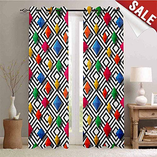 (Hengshu Geometric Blackout Draperies for Bedroom Lively Colored and 3D Styled Diamond Gemstone Figures on Black and White Backdrop Thermal Insulating Blackout Curtain W84 x L108 Inch Multicolor )