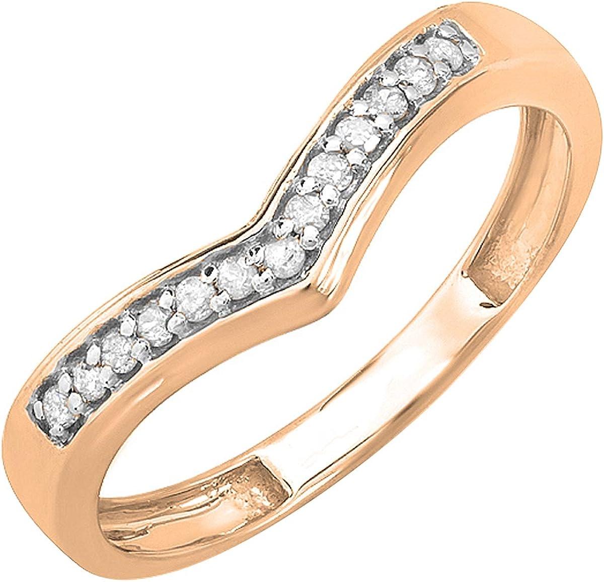 ctw Dazzlingrock Collection 0.15 Carat Round Diamond Wedding Stackable Band Anniversary Guard Chevron Ring 10K Gold