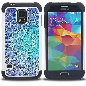For Samsung Galaxy S5 I9600 G9009 G9008V - flower blue teal repetitive pattern Dual Layer caso de Shell HUELGA Impacto pata de cabra con im??genes gr??ficas Steam - Funny Shop -