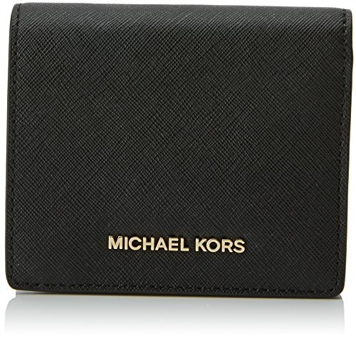 MICHAEL Michael Kors Women's Flap Card Holder Wallet, Black, One Size (Card Holder Womens Flap)