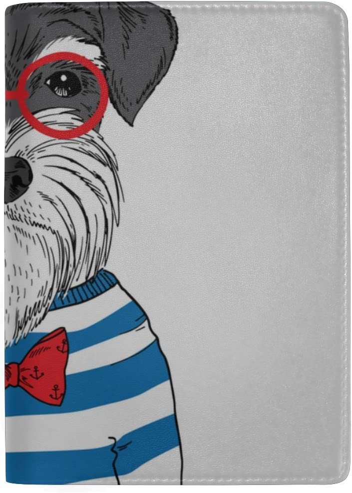 Cute Puppy Dog Sitting In Shoes Blocking Print Passport Holder Cover Case Travel Luggage Passport Wallet Card Holder Made With Leather For Men Women Kids Family