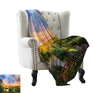 WinfreyDecor Warm Blanket Kids Jumping with Joy on a Hill Under Rainbow Cartoon Style Drawing Traveling,Hiking,Camping,Full Queen,TV,Cabin 60' Wx60 L