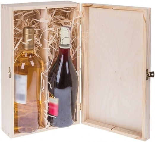 Botellas de Vino Caja de Regalo con Tapa y candado para 2 botellas ...