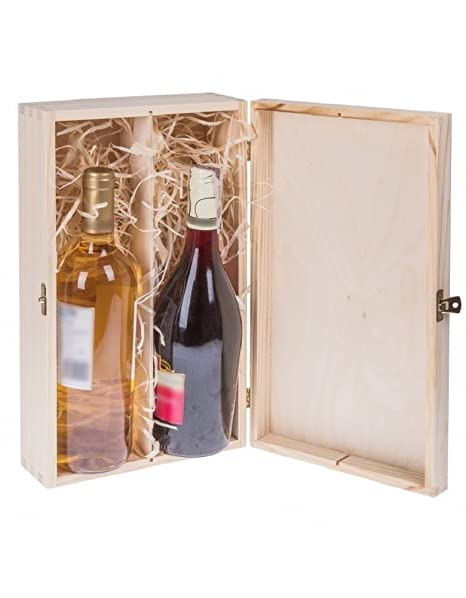 Botellas de Vino Caja de Regalo con Tapa y candado para 2 botellas de vino