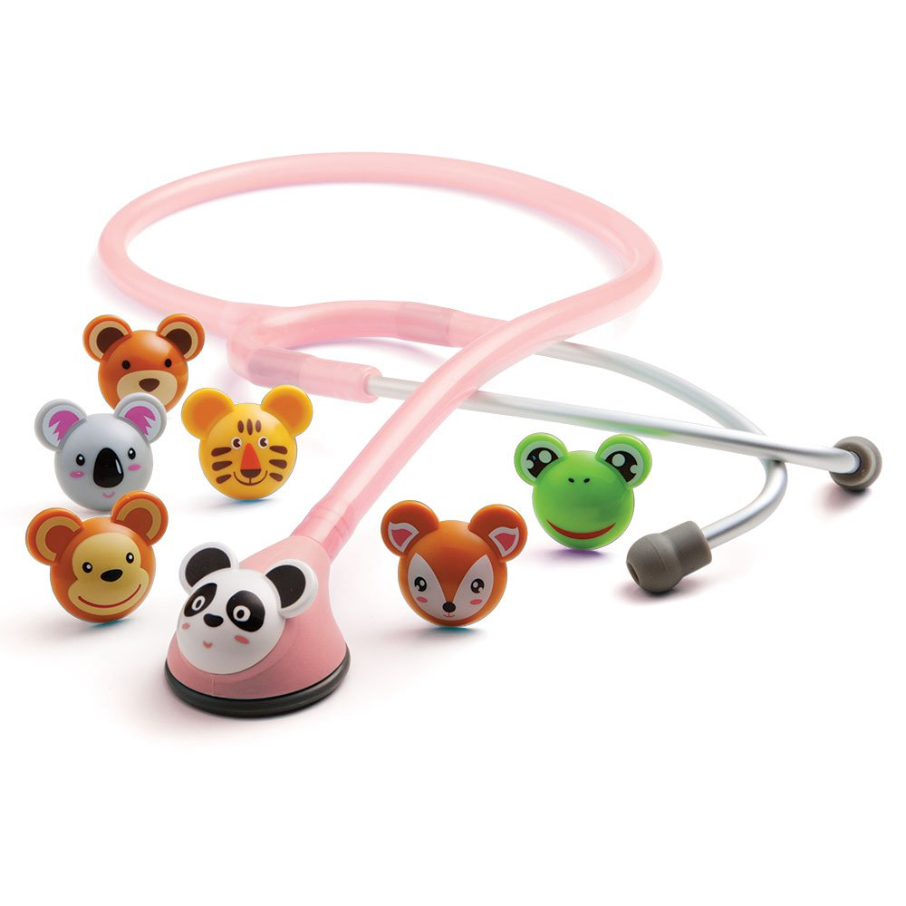 ADC Adscope Adimals 618 Pediatric Stethoscope with Tunable AFD Technology, 30 inch Length, Pink