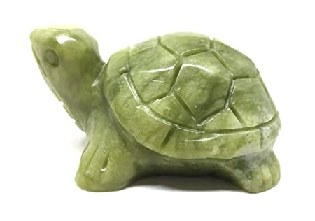 Nelson Creations, LLC Turtle Natural Serpentine Jade Gemstone Animal Carving Charm Totem Figurine, 3 Inch