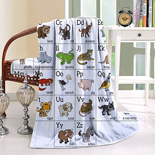 HAIXIA Throw Blanket Alphabet Learning Chart with Cartoon Animals Names Letters Upper and Lowercase Multicolor