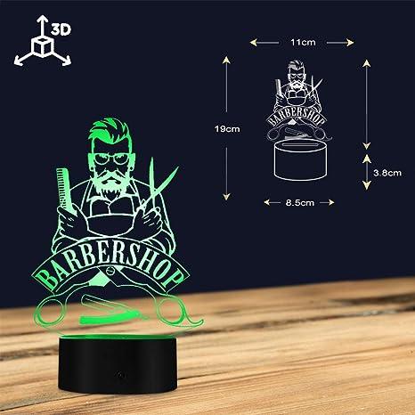 Luz Nocturna 3D,Peluquería 3D Ilusión Óptica Lámpara De Mesa ...