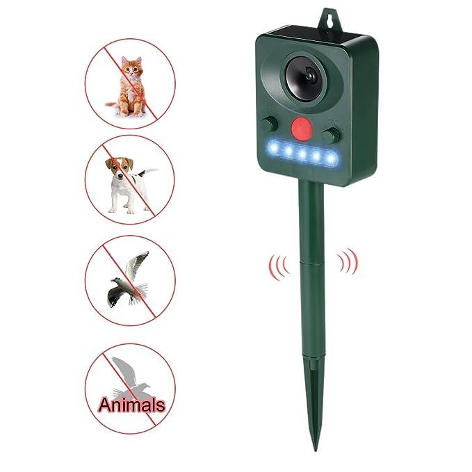 Decdeal - Ahuyentador de Animales Ultrasónico Solar con Led Flashing Frecuencia para Mapaches Gatos Perros Pájaros: Amazon.es: Hogar