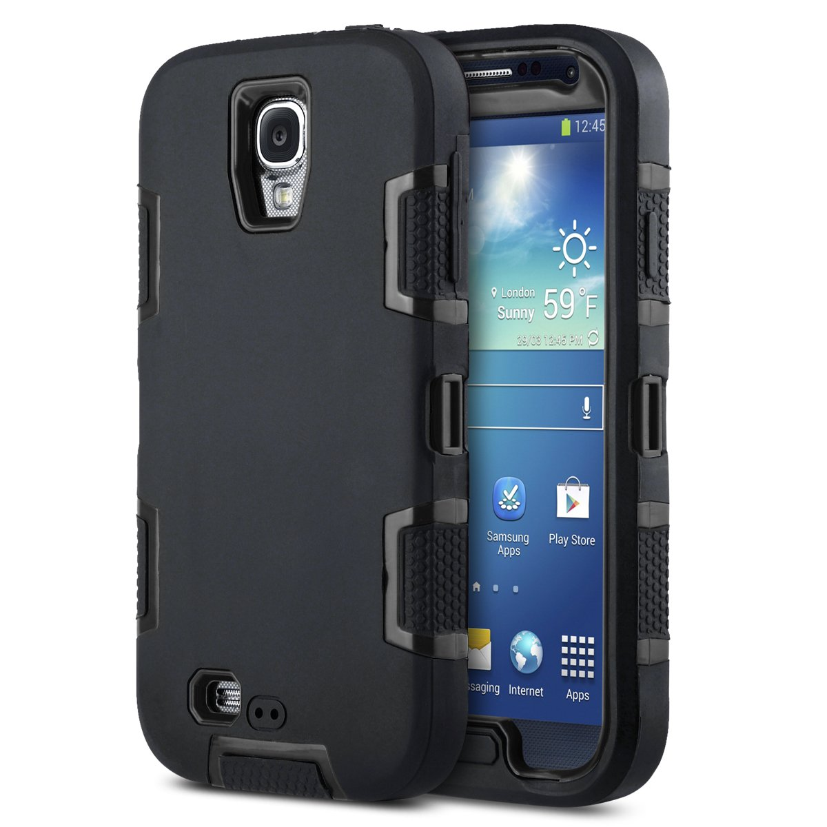 the latest 354da 68345 ULAK Galaxy S4 Case, Knox Armor S4 Case - Shockproof Hybrid Rubber Combo  Case Cover 3in1 Rigid Plastic+Soft Silicone for Samsung Galaxy S4 IV ...