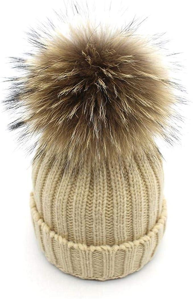 Damen Echtfell Waschbär Fell Pelz Bommel Strick Mütze Winter-Mütze Bommelmütze