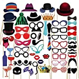 PBPBOX Photo Booth Props 59 Piece DIY Kit for Wedding Party Graduation Birthdays Dress-up Accessories