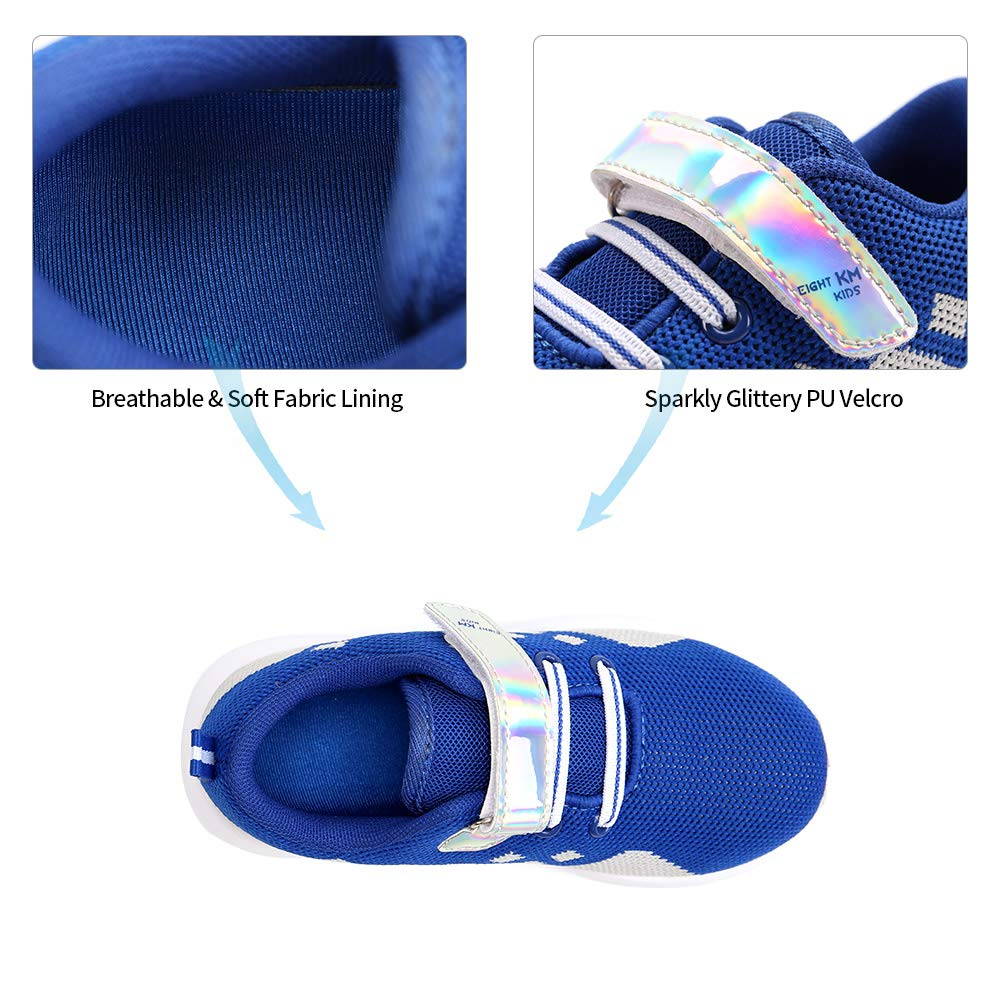EIGHT KM Boys Toddler Kids EKM7021 Lightweight Breathable Blue/Grey Fly Knitted Sparkly Velcro Sneakers School Shoes Size 10.5 US 2019 Thanksgiving