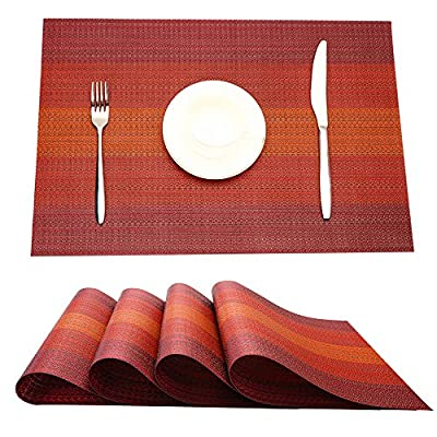 MrXLWhome Upgrade Placemats, Premium Heat Insulation Placemats, Stain Resistant Placemat, Dining Table Mats. Woven Vinyl Kitchen Table Placemat Set of 4(red) - HIGH QUALITY MATERIALS: environmentally material: 70% PVC and 30% Polyester, Super easy to clean, Quick-drying, Anti-abrasion, Non-slip, Durable, Heat-Resistant, Non-fading, Non-stain, Not mildew, very safe to use PERFECT HOME DECOR:New Stylist woven vinyl placemats highly update your dining table and kitchen decor, Beautiful design make the dining room looks very elegant, more colors placemat easily change kitchen or dining room's decorative theme, very perfect for everyday use or holidays EASY CARE: vinyl placemats are washable, easy to clean and dries very quick, you can roll them up or slide them between things while you clean the table, free bending, free cutting, pull force non- deformation. - placemats, kitchen-dining-room-table-linens, kitchen-dining-room - 61YvAbX28wL. SS400  -
