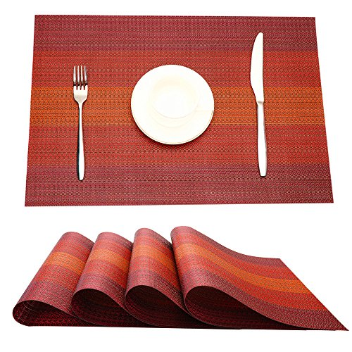 MrXLWhome Upgrade Placemats Set of 4 Heat Insulation Stain Resistant Placemat for Dining Table. Premium Woven Vinyl Kitchen Table Mats Placemat(red)