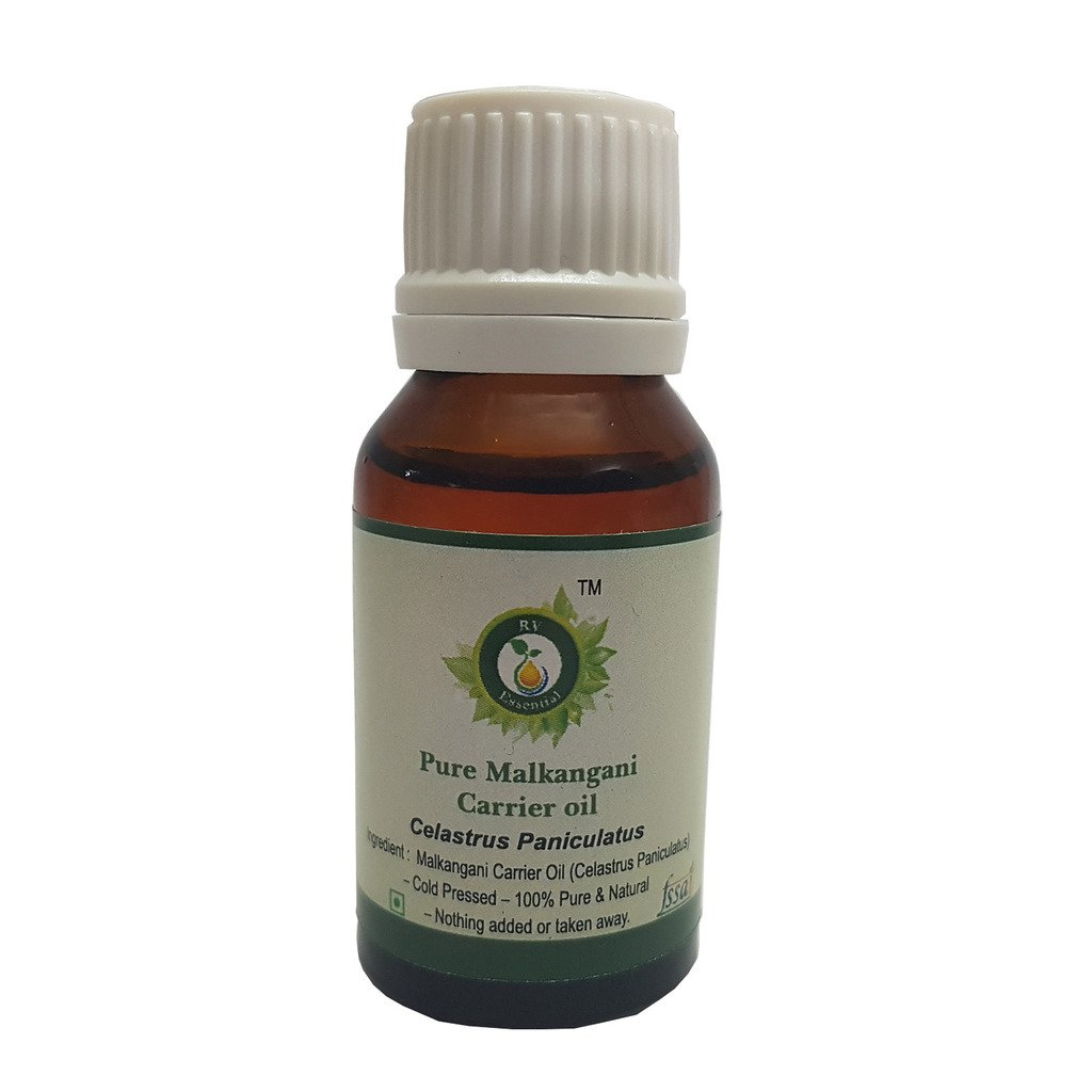 R V Essential Pure Malkangani Carrier Oil 5ml (0.169oz)- Celastrus Paniculatus (100% Pure and Natural Cold Pressed)