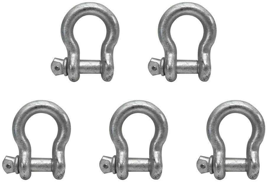 5 PC 7//8 Screw Pin Anchor Shackle Galvanized Steel Drop Forged 13000 Lbs D Ring Shackle Chains Shackle Sailing Shackles for Tow Straps
