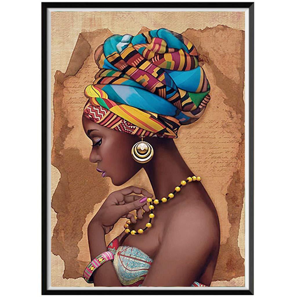 certainPL DIY 5D ダイヤモンドペインティングキット 大人用 一部ドリル ダイヤモンド 刺繍 ペインティング クロスステッチキット 自宅の壁の装飾に アフリカの女性 B07PN28H1T D